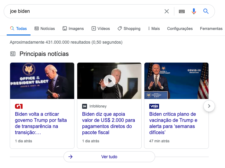 Exemplo de Snippet Top Stories do Google
